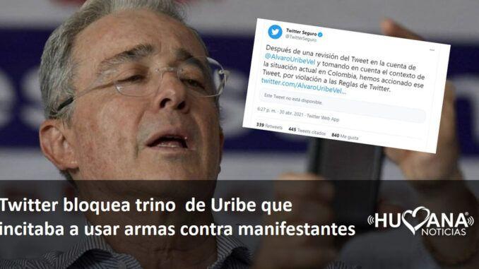 tWITTER BLOQUEA TRINO DE ALVARO URIBE