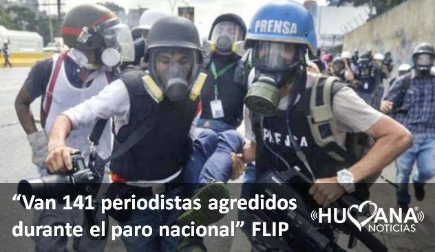 141 PERIODISTAS AGREDIDOS DURANTE EL PARO NACIONAL DENUNCIO LA FLIP